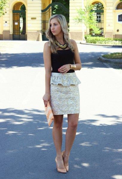 svart tub topp vit blommig peplum mini body kjol
