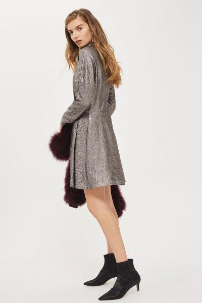 ljunggrå läder batwing skater klänning