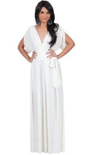 vit golvlång omlottklänning med V-ringning