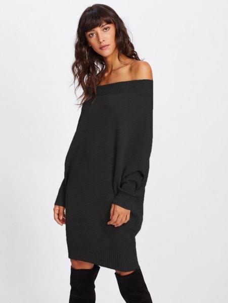 svart från axeln, tjock tröja klänning