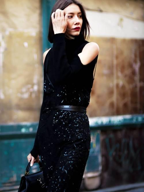 kall axel tröja helt svart
