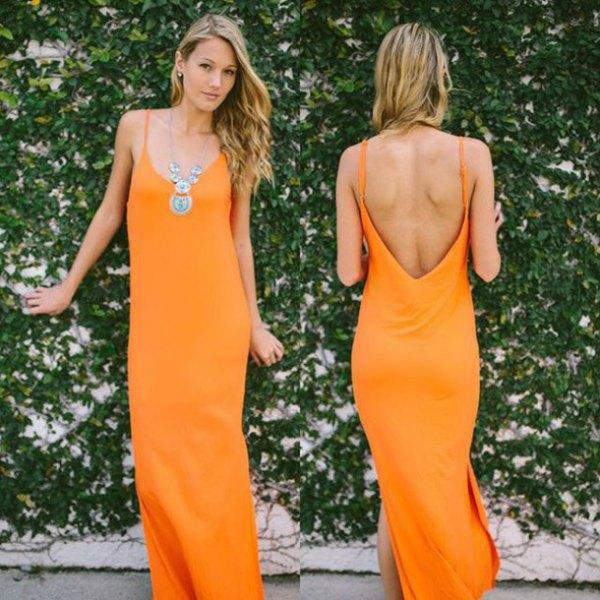 backless maxi shift klänning med orange spagettirem