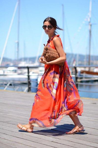orange och blått tryckt chiffong maxi flared klänning