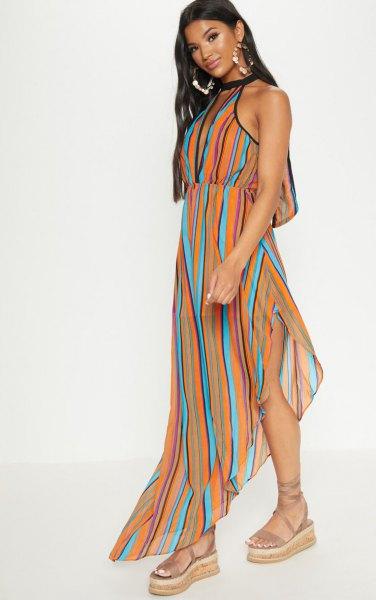orange blå och svart vertikal randig maxi chiffongklänning