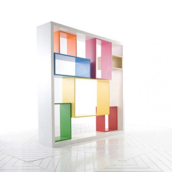Funktionell flerdimensionell färgglad hyllenhet - DigsDi