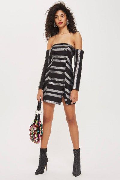svart och silver randig Bardot miniklänning med fotkängor