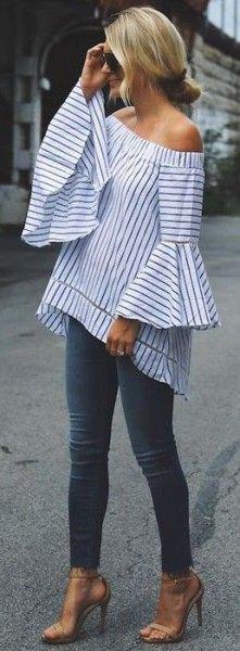 randig axelbandslös topp klockärmad outfit