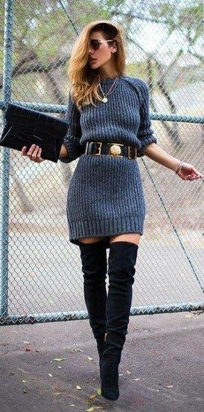 grå tröja klänning med bälte och overknee stövlar av svart mocka