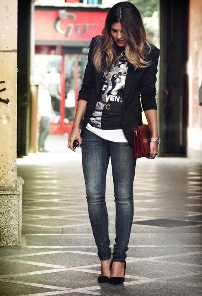 svart grafisk t-shirt med blazer och grå slim fit jeans