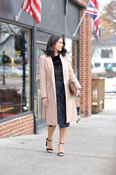 blekrosa lång ullrock svart klänning