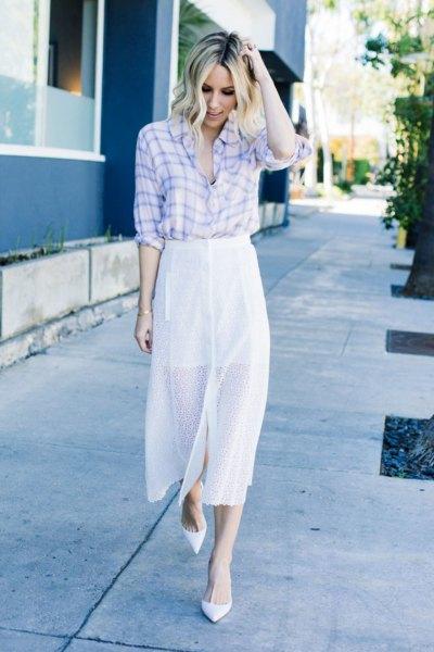 Himmelblå och vit rutig skjorta och maxikjol