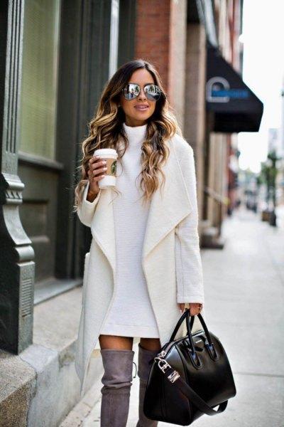 vit kappa tröja klänning overknee stövlar