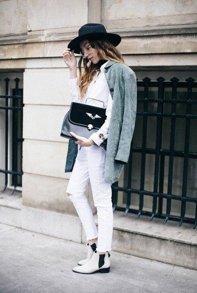 grå oversized jacka vit skjorta jeans
