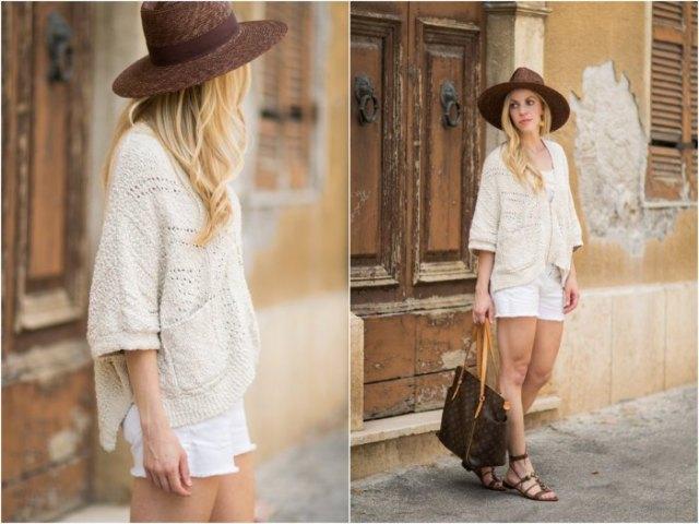 vit stickad tröja vita jeansshorts