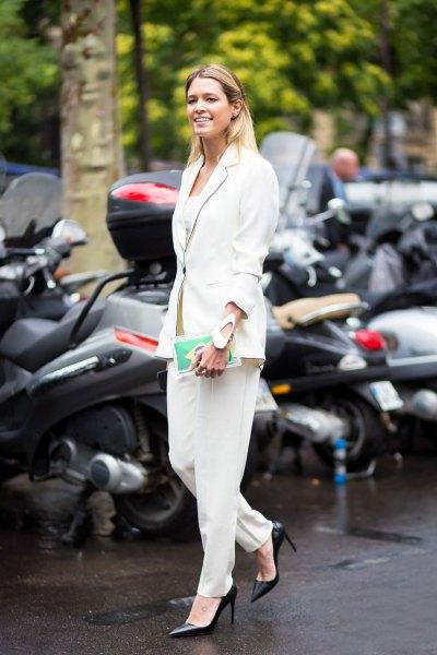 helt vit klädsel byxor