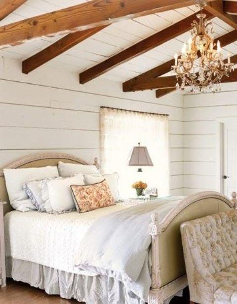 35 eleganta sovrumsdesigner med exponerade träbjälkar - DigsDigs.