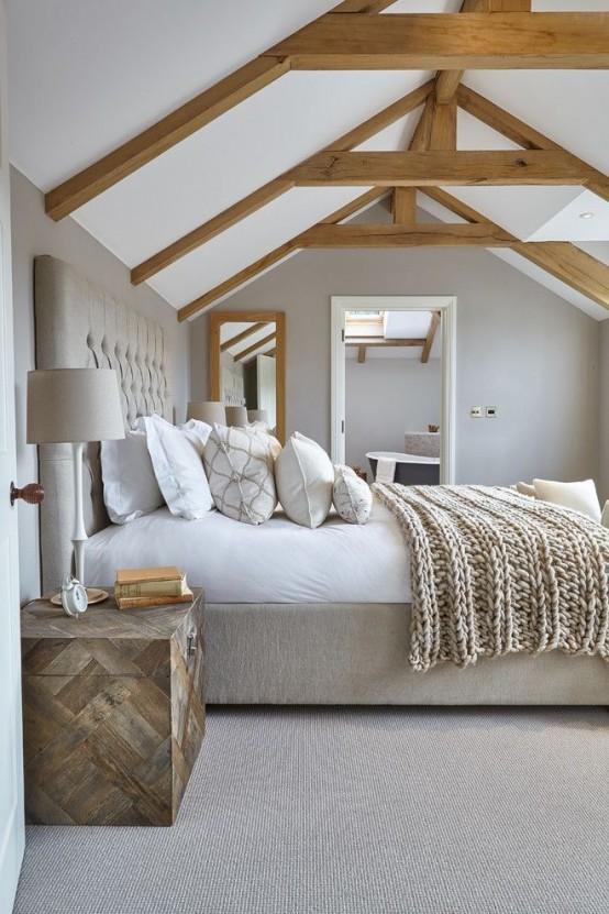 35 eleganta sovrumsdesigner med exponerade träbjälkar - DigsDi