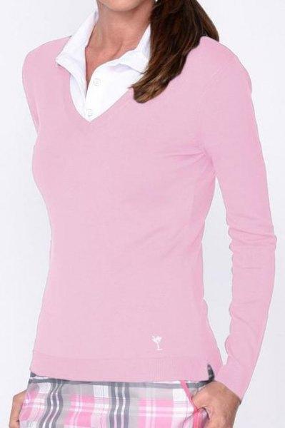 rosa figur-kramar V-ringad tröja och vit krage skjorta