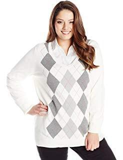 vit och grå tröja med V-ringning och avslappnad passform med svarta jeans