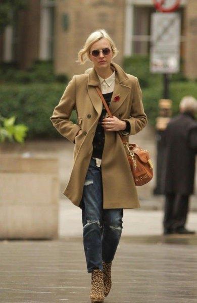 Boyel jeans med kamelullrock