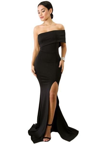 svart av axel golv längd flytande slits klänning