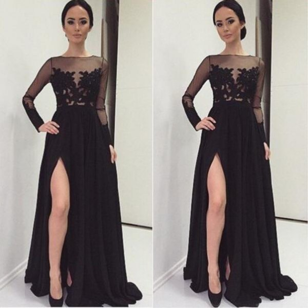 svart, halvtransparent, golvlång klänning med slitsspetsar