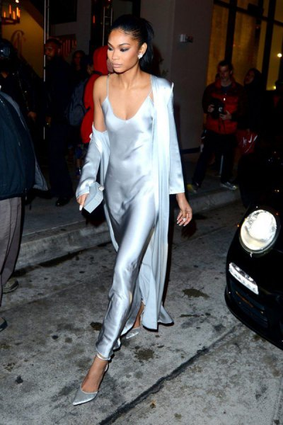 Silver Maxi Silk Dress Longline Cardigan