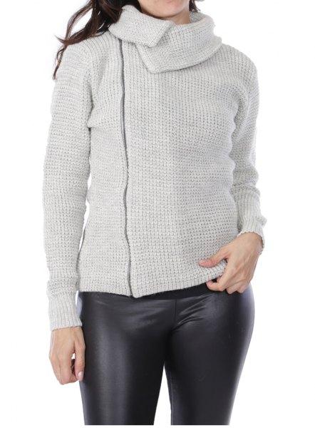 grå asymmetrisk kofta med svart läder damask