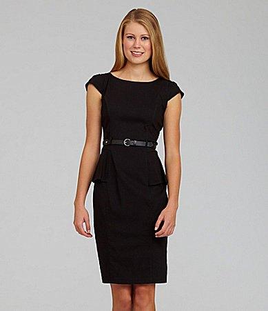 svart peplum penna klänning med bälte