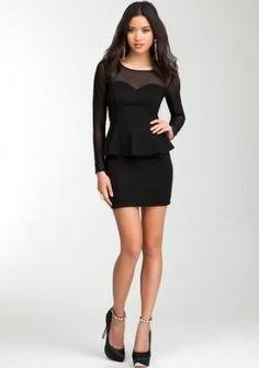 svart, halvtransparent miniklänning med krage och ärmar