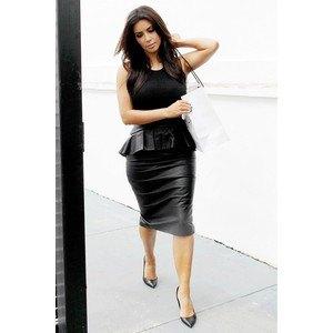 svart läder peplum midi bodycon klänning