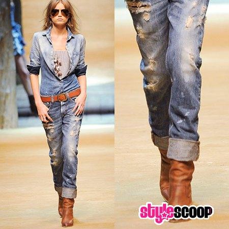 Chambray slim fit skjorta med klippta jeans i manschett med manschett och bälte