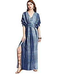Maxi-rynkad midja, v-ringad slipsfärgad klänning med hög split