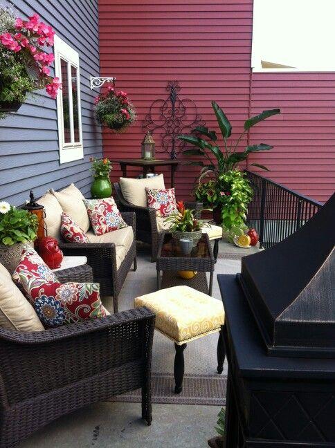 Konversationsområde Sommardekorationer  Uteplats dekor, Uteplats, däck.