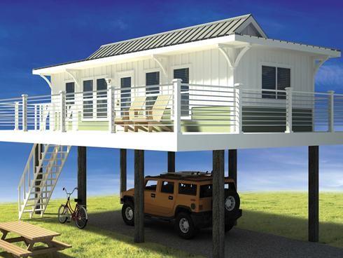 Beachfront Tiny House on Stylts |  Hus på styltor, liten strand.