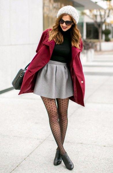 Bourgogne lång kappa över minikjol