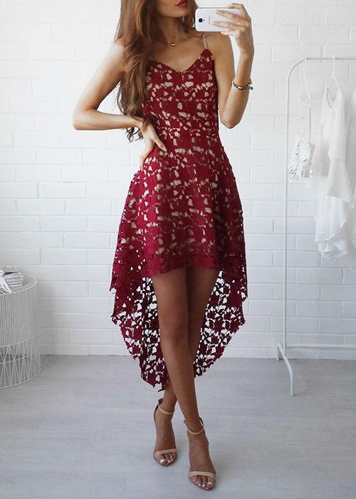 Hög låg spets klänning röd