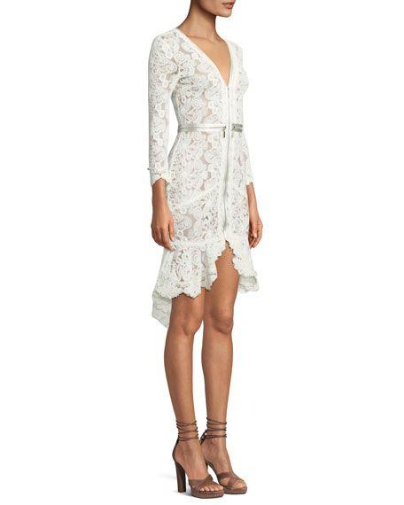 Hög låg spets klänning vit casual