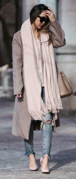 vit kashmir halsduk grå lång yllekappa