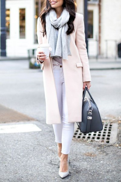 vit lång ullrock skinny jeans