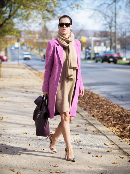 Tiffany Blue Long Wool Coat Crepe Cashmere Scarf