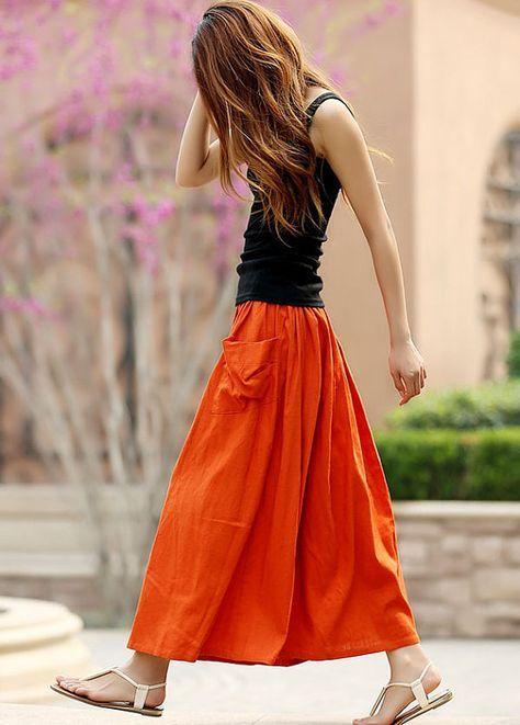 elastisk midjekjol orange ny svart