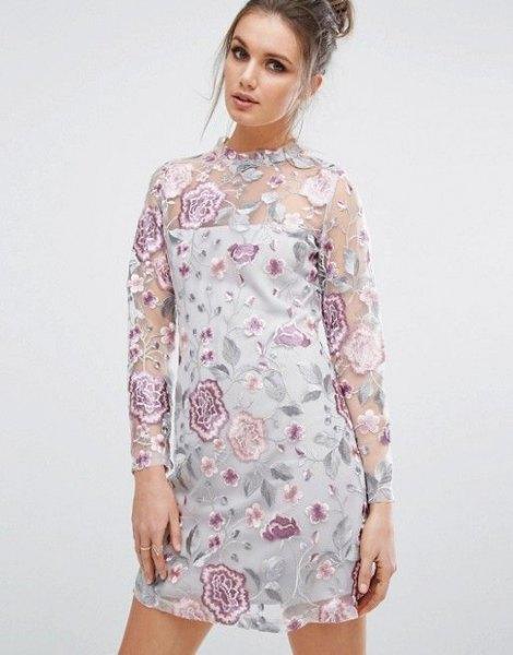 vitt rör klänning långärmad blomma mesh overlay