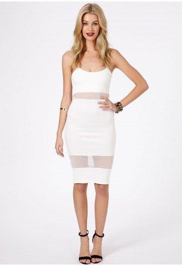 vit tvådelad nätklänning med imiterad spagettirem