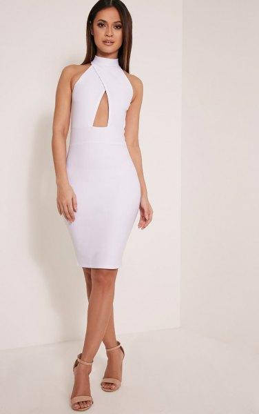 vit, kors-löpande, figur-kramar nyckelhål klänning