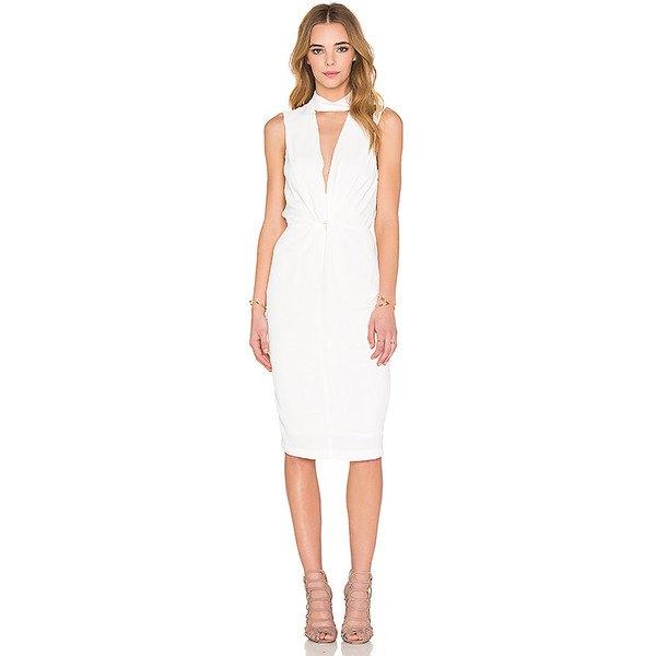 vit, knälång klänning med rynkad midja