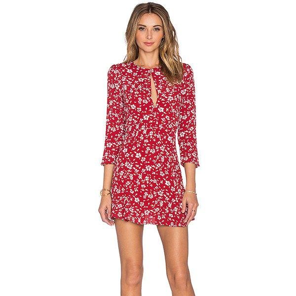 röd nyckelhål blommig mini shift klänning