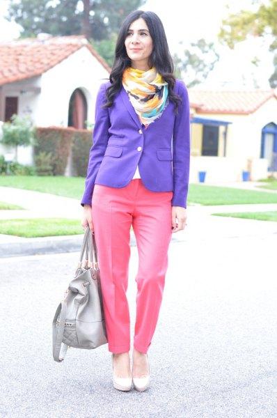 lila blazerrosa byxor
