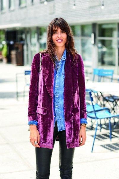 Velvet Blazer Chambray-tröja