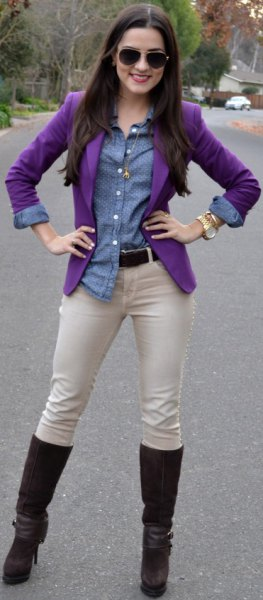 Chambray skjorta ljusrosa byxor